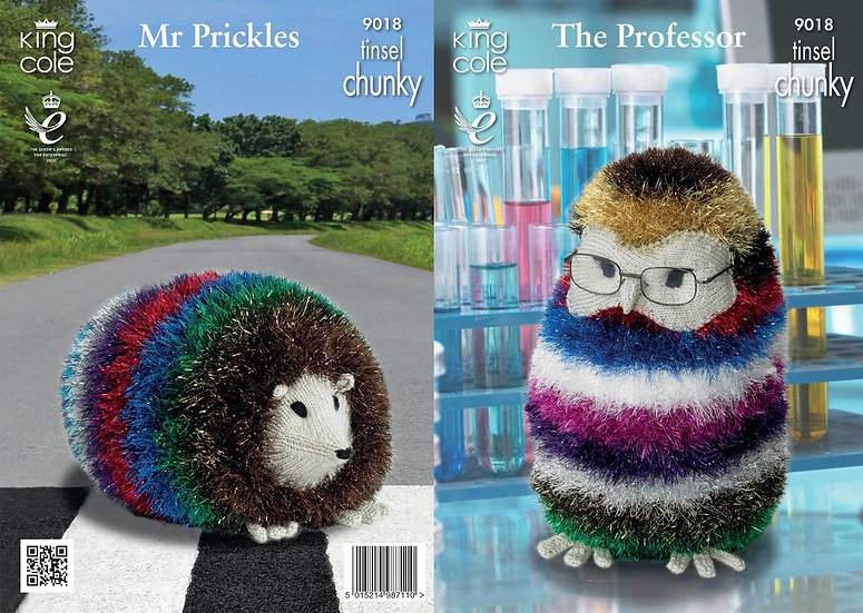 King Cole 9018 The Professor Owl and Mr Prickles Hedgehog Knitting Pattern