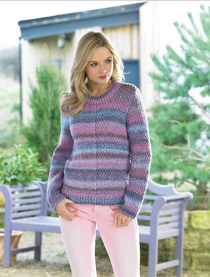 James C. Brett JB437 Stitch Detail Half & Half Chunky Sweater Knitting Pattern