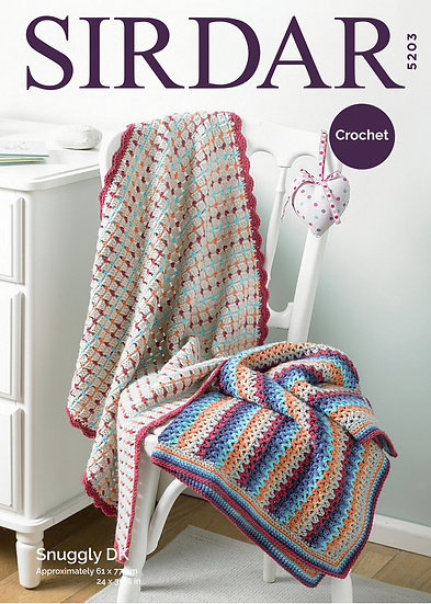 Sirdar 5203 Crochet Blankets V Stitch and Shell Edge Double Knit Pattern