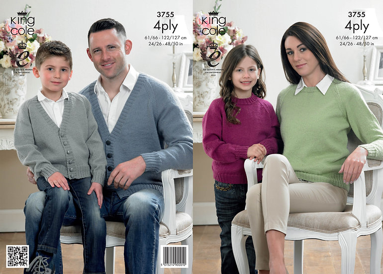King Cole 3755 Round Neck Sweater & V Neck Cardigan Family 4Ply Knitting Pattern
