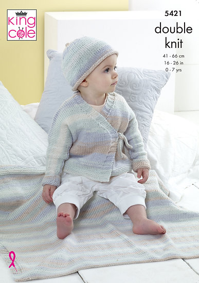 King Cole 5421 Babies Wrap Cardigan, Blanket and Hat Double Knitting Pattern