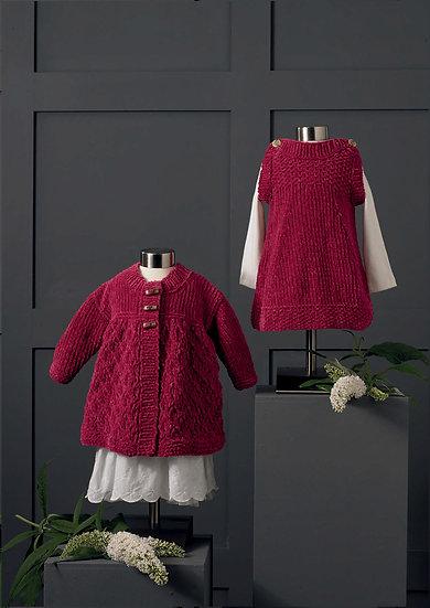 James C. Brett JB650 Babies Chunky Dress And Matinee Jacket Knitting Pattern
