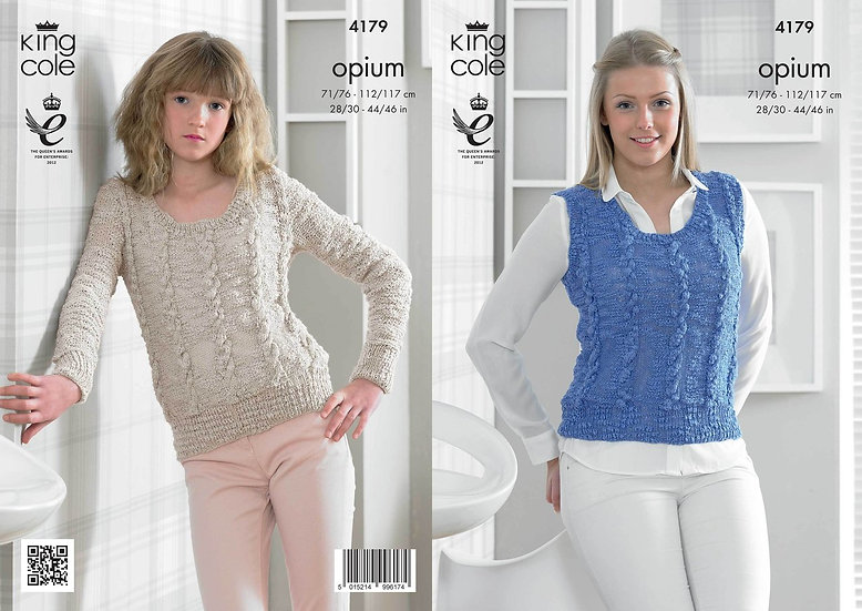 King Cole 4179 Opium Ladies Cable Sweater and Slipover Tank Top Knitting Pattern