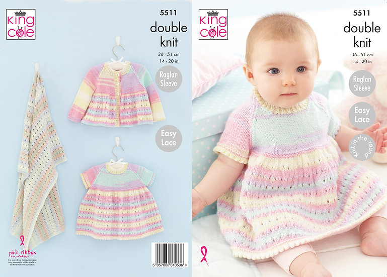 King Cole 5511 Knit in the Round Babies Dress, Coat and Blanket Knitting Pattern