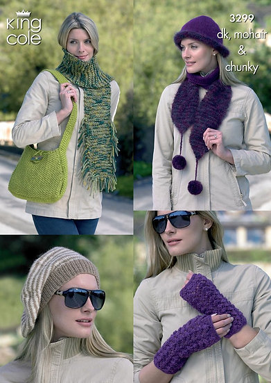 King Cole 3299 Hats, Scarves, Bag and Wrist Warmers Pattern
