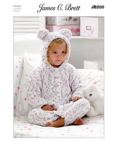 James C Brett JB200 Babies & Childrens Chunky Onesie All-in-One Knitting Pattern