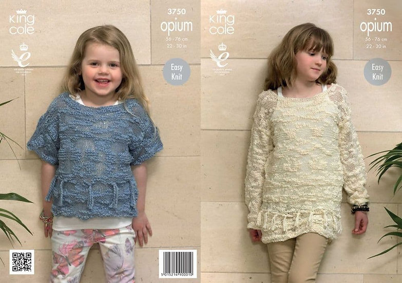 King Cole 3750 Opium Childrens Tasseled Sweater and Top Knitting Pattern