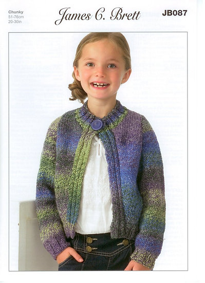 James C. Brett JB087 Childrens Chunky Cardigan Knitting