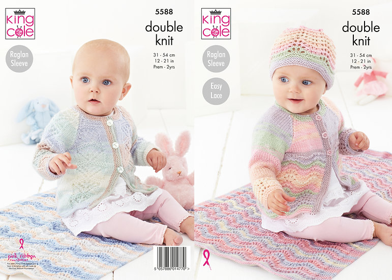 King Cole 5588 Easy Lace Babies Cardigan, Coat, Hat and Blanket Knitting Pattern