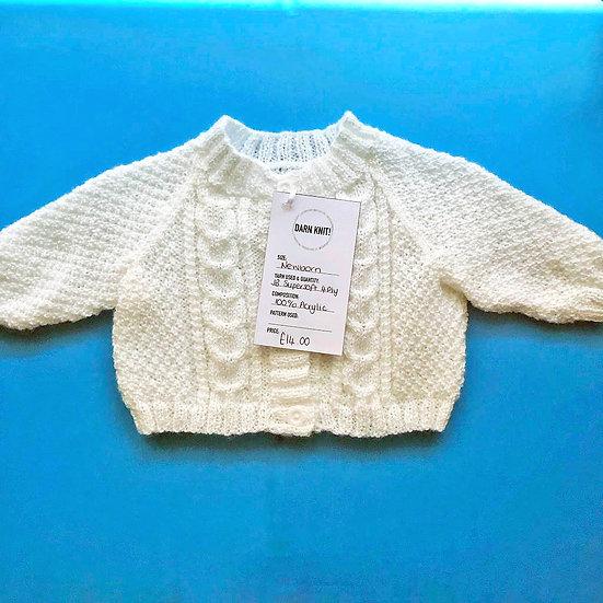 White Cable Newborn Baby Cardigan