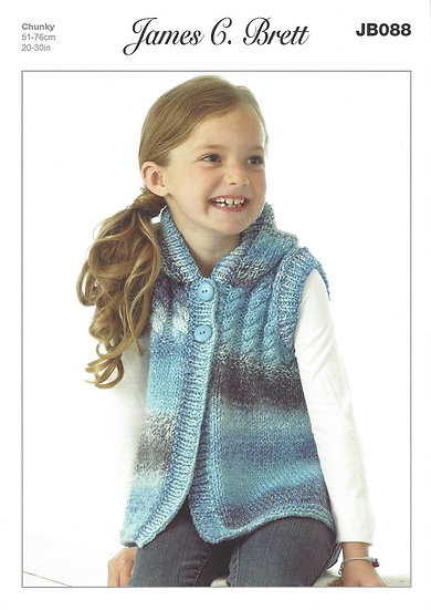 James C. Brett JB088 Childrens Hooded Cabled Chunky Waistcoat Knitting Pattern