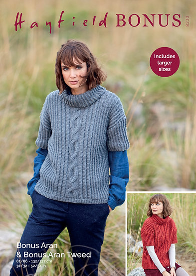 Hayfield 8233 Cables and Twists Roll Neck Sweater Aran Knitting Pattern