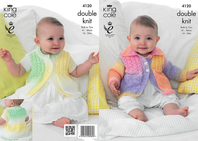 King Cole 4120 Babies and Childrens Cabled Jackets Double Knitting Pattern