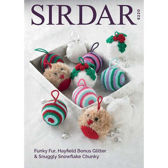 Sirdar 8220 Knitting and Crochet Christmas Baubles Pattern