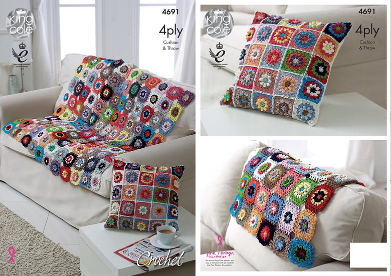 King Cole 4691 Crochet Cushion and Throw 4 Ply Pattern