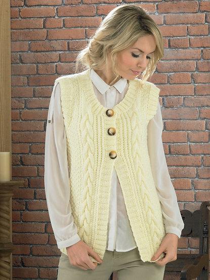 James C. Brett JB225 Ladies Cable Waistcoat Aran Knitting Pattern