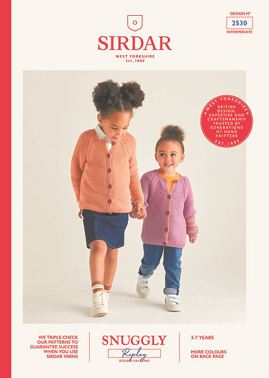 Sirdar 2530 Childrens Garter Stitch Cable Cardigan Double Knitting Pattern