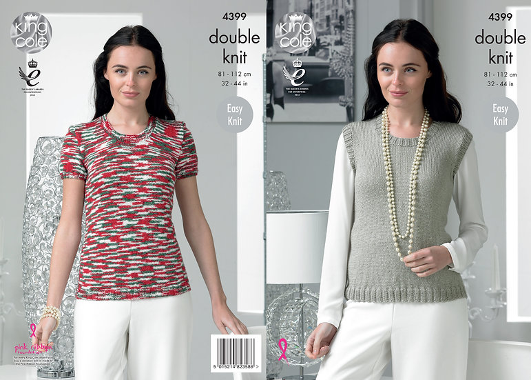 King Cole 4399  Easy Knit Tank Top and Slipover Double Knitting Pattern