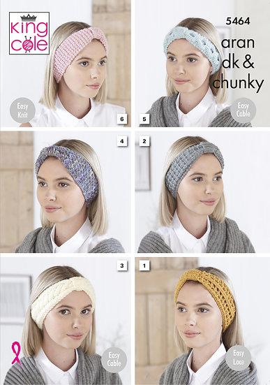 King Cole 5464 Headbands in Double Knit, Aran or Chunky Pattern