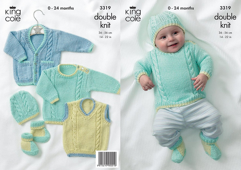 King Cole 3319 Babies Cabled Sweater, Tank Top, Hat and Booties Pattern