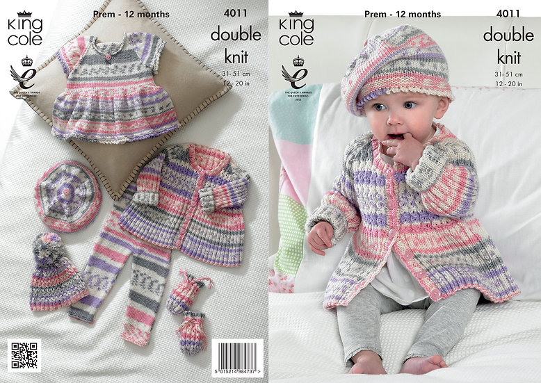 King Cole 4011 Babies Dress, Leggings, Beret and Mittens Set Double Knit Pattern