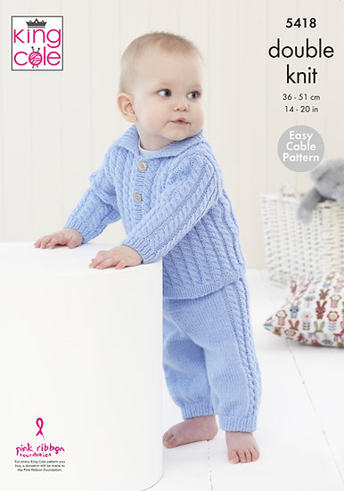 King Cole 5418 Babies Cable Jacket and Trousers Double Knitting Pattern
