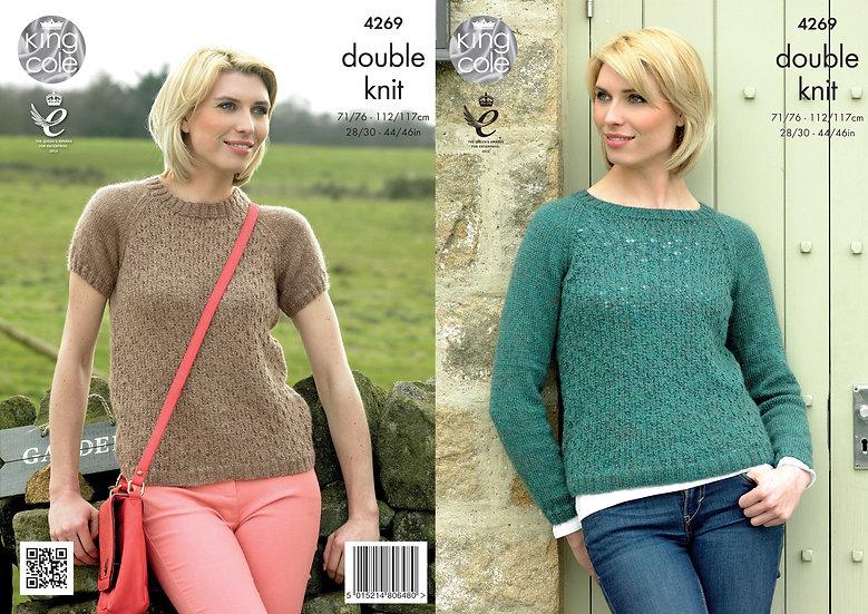 King Cole 4269 Ladies Long & Short Raglan Sleeve Sweater Double Knitting Pattern