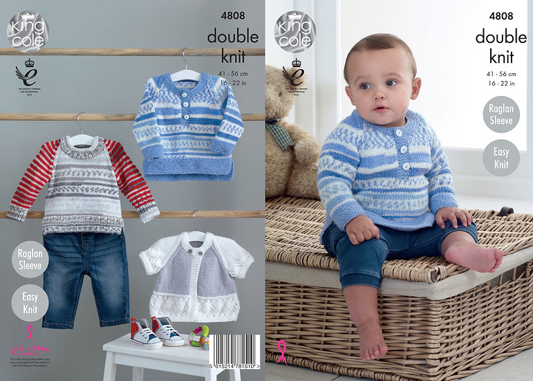 King Cole 4808 Babies Sweaters and Cardigan Double Knitting Pattern