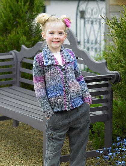 James C. Brett JB455 Childrens Collared Chunky Cardigan Knitting Pattern