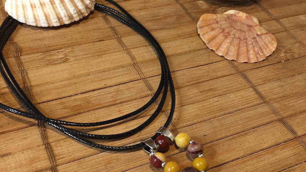 Collier pierre naturelle mokaïte et coquillage