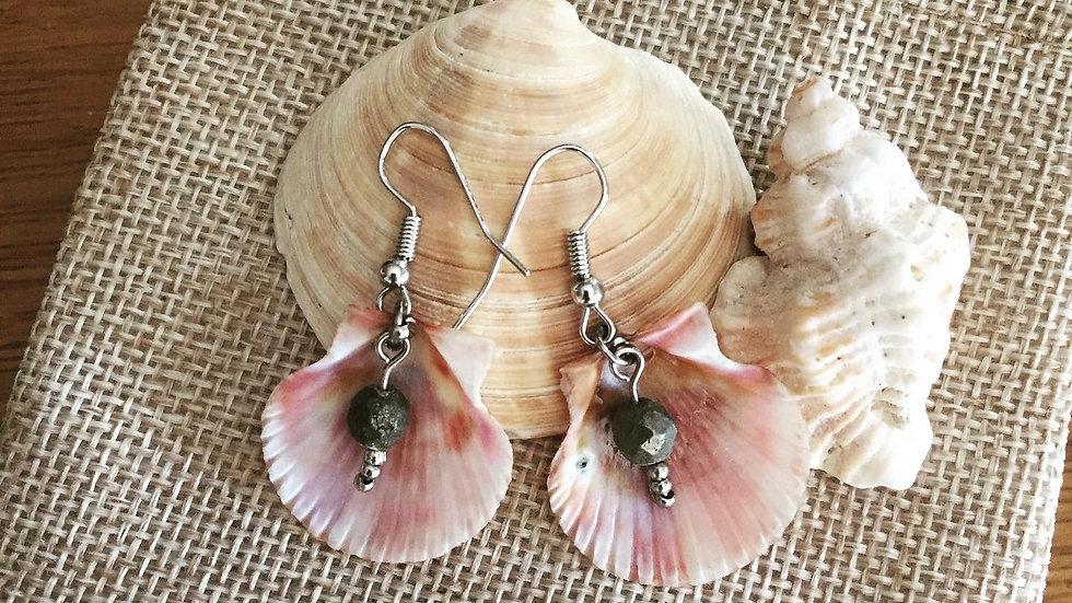 Boucles d'oreilles coquillage et pierre