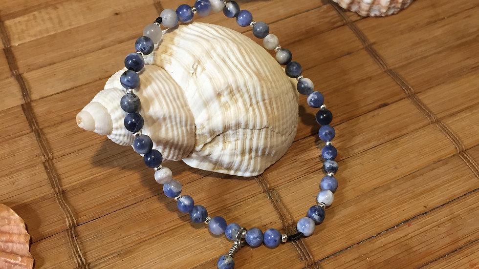 Bracelet pierre naturelle sodalite et coquillage