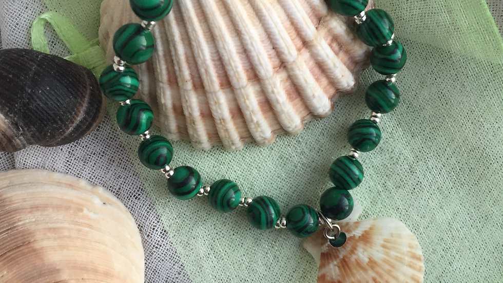 Bracelet pierre naturelle malachite et coquillage