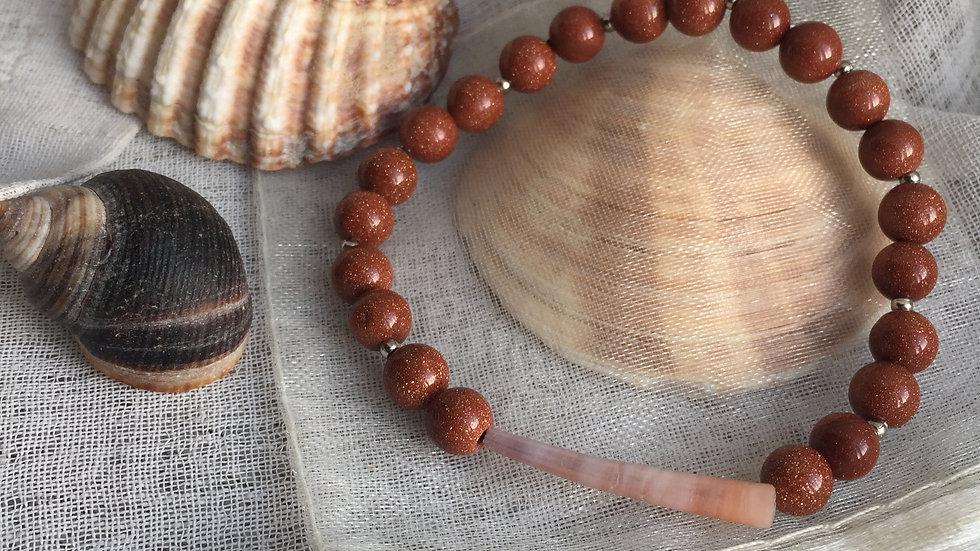Bracelet pierre naturelle du soleil et coquillage