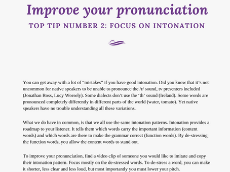 Focus on intonation for better pronunciation