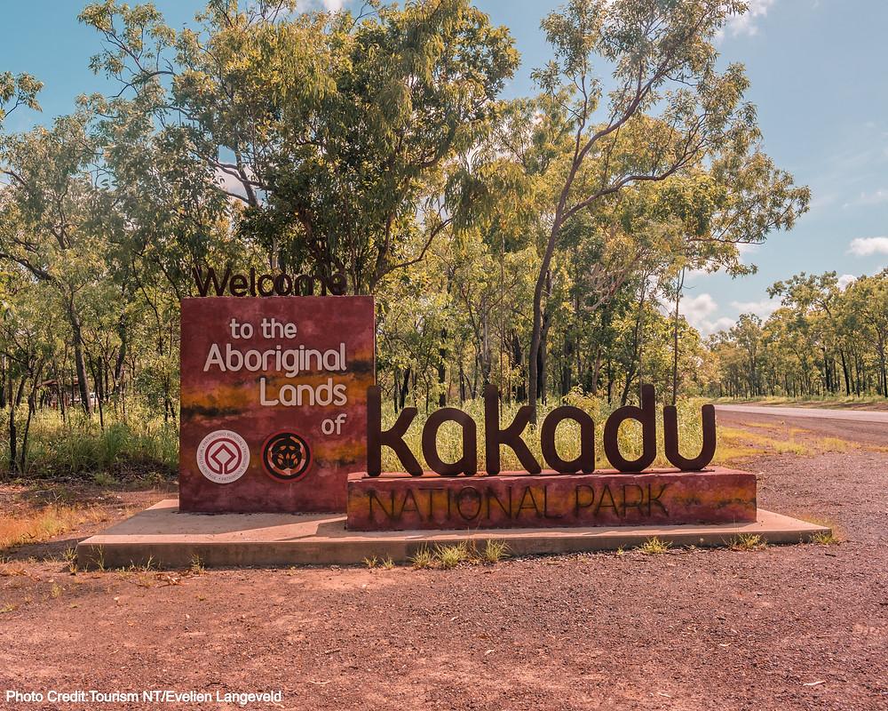 Entry sign to Kakadu National Park, Northern Territory Australia