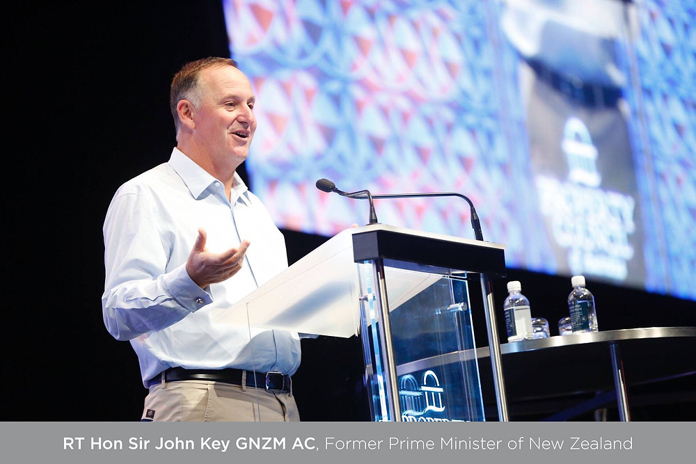 Sir John Key speaking at a conference in Darwin