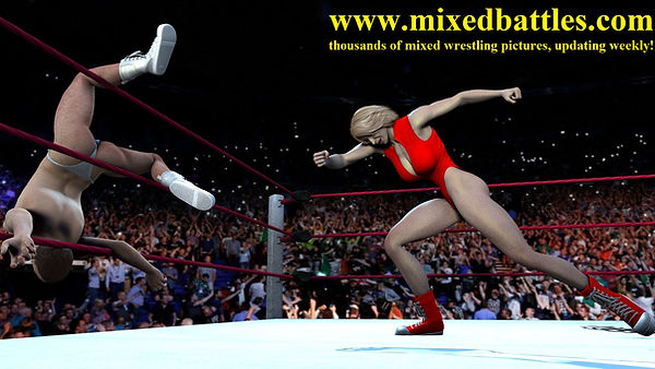 mixed wrestling woman throws man out of ring