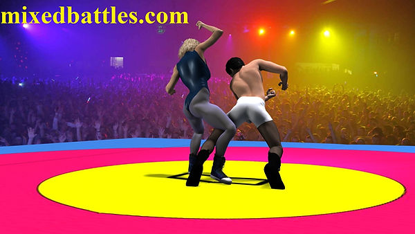 Mixed wrestling female domination fighting