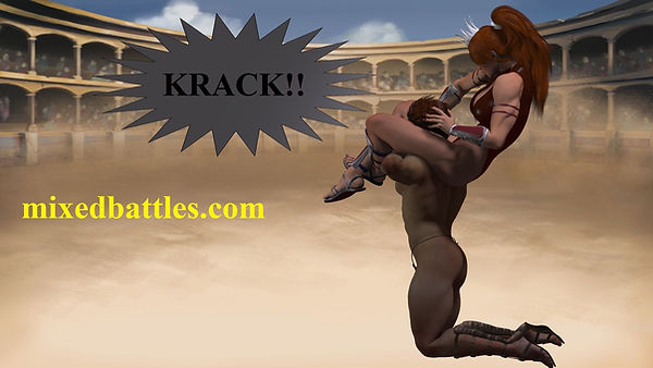 amazon vs gladiator mixed wrestling she kills him