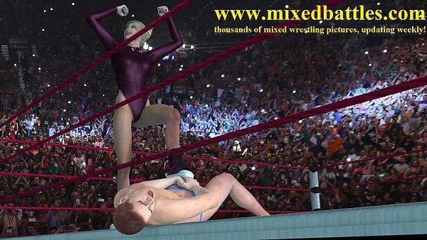 mixed wrestling woman wins victory pose sore balls