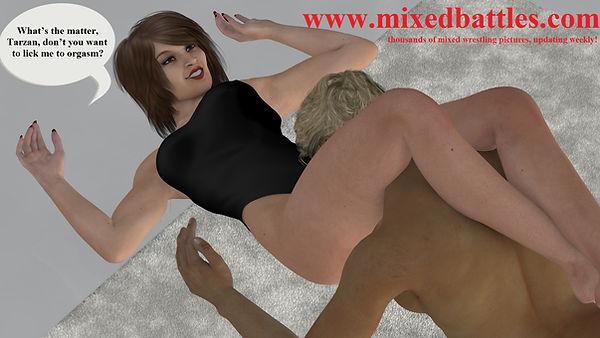 CFNM leotard mixed wrestling headscissors femdom