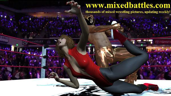 mixed wrestling holds leotard femdom ryona leglock