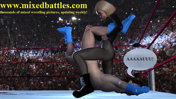 cfnm boston crab leotard girl mixed wrestling holds femdom