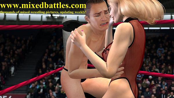 ballbusting woman vs man wrestling femdom leotard fighting
