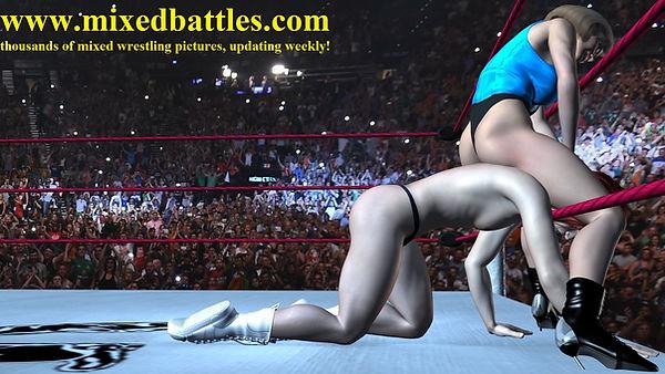 thong leotard standing headscissors smothering femdom mixed wrestling