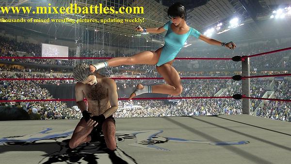 karate flying head kick woman beats man leotard femdom fighting