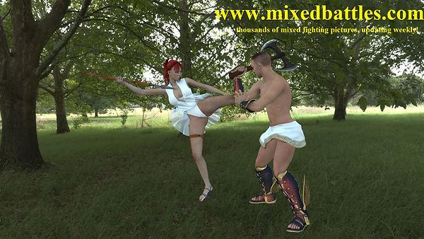 amazon girl vs gladiator leotard karate fighting