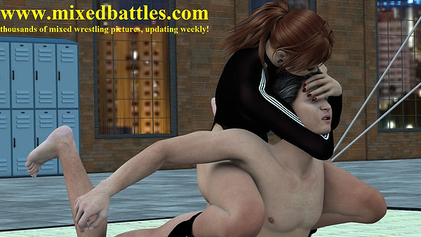 CFNM mixed wrestling femdom choke hold nude male defeated by young girl in black adidas leotard