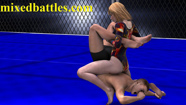 mixed wrestling woman vs man leotard girl sitting on top of his body